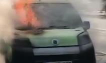 Bitliste seyir halindeki araç alev alev yandı