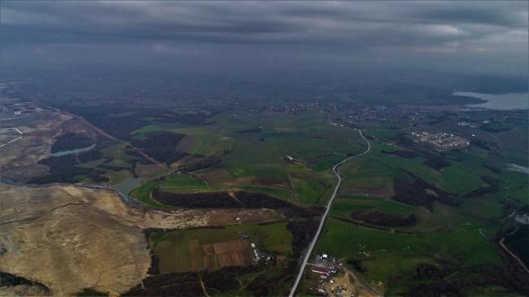 Kanal İstanbul Projesi güzergahındaki Durusu Köyü havadan görüntülendi