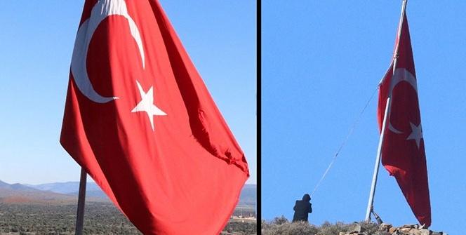 Köyün en yüksek tepesine astılar…  Afrin sınırına dev Türk bayrağı