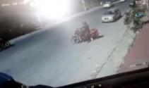 Motosikletliler böyle birbirine girdi
