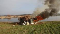 Gümeler yakılarak imha edildi