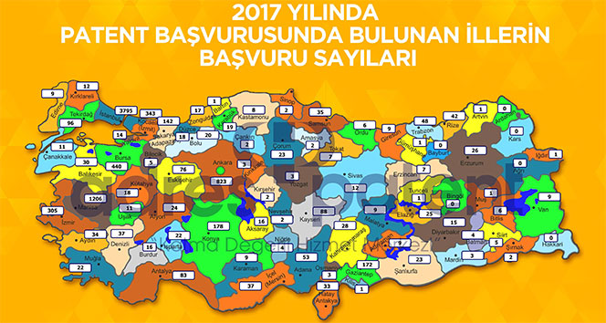 Türkiyenin il il patent başvuru sayısı