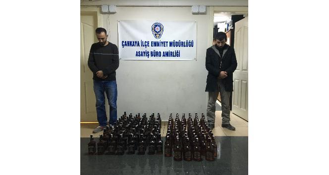 Başkent'te kaçak içki satan 2 kişi yakalandı