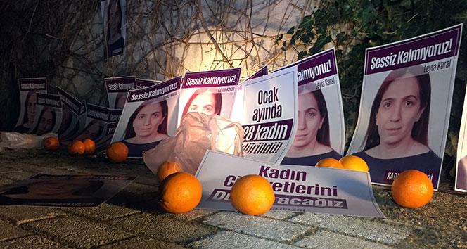 Şişlide kadın cinayetlerine portakallı protesto
