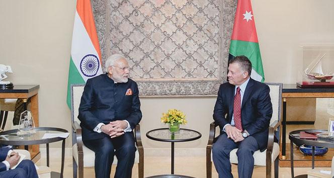 Ürdün Kralı II. Abdullah, Hindistan Başbakanı Modi ile bir araya geldi