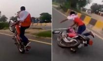 Trafikteki tehlikeli şov kötü bitti