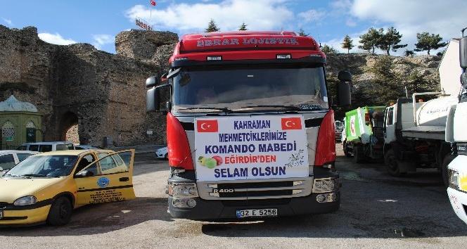 Afrindeki kahraman Mehmetçik için 25 ton Eğirdir elması