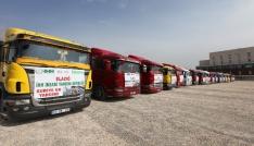 Elazığdan 17 yardım tırı Suriyeye yola çıktı