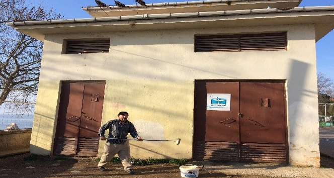 Okul bahçesindeki çirkin duvar yazıları boyanarak kapatıldı