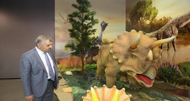 Başkan Çelik, Kayseri Bilim Merkezi'nde Nisan ayında sergilenmeye başlayacak olan Devr-i Dinozor Sergisi'ni gezdi