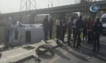 Başkentte yolcu minibüsü kaza yaptı: 15 yaralı