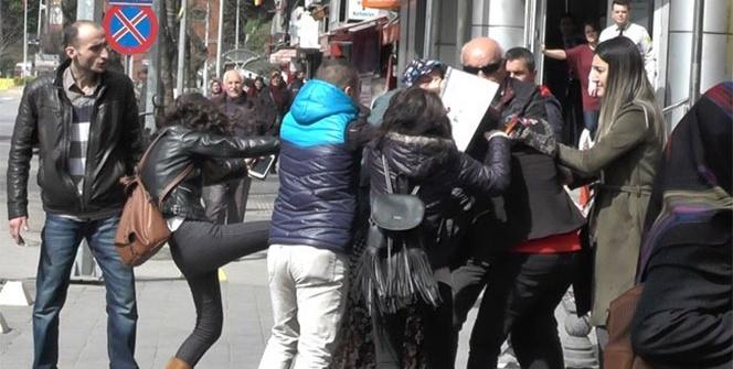 Kadınlar sokak ortasında kavga etti