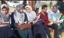 Filistinlilerden İsrail sınırında okuma eylemi