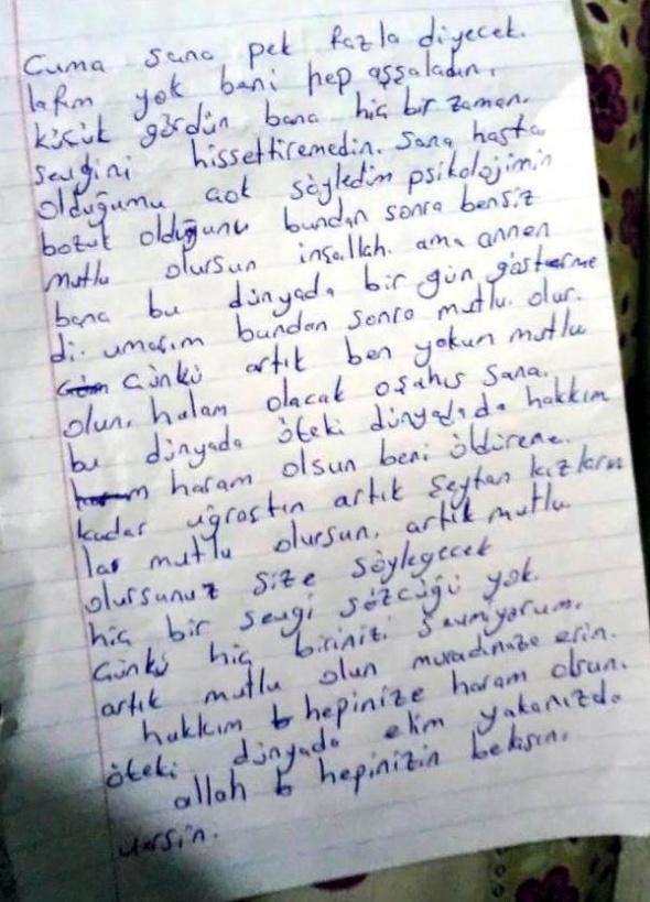 Cinnet getiren kadının yazdığı mektuba İHA ulaştı