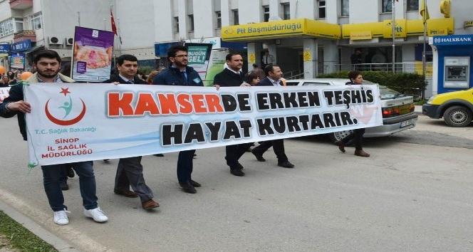 """Sinopta """"Kanserde Erken Teşhis Hayat Kurtarır"""" yürüyüşü"""
