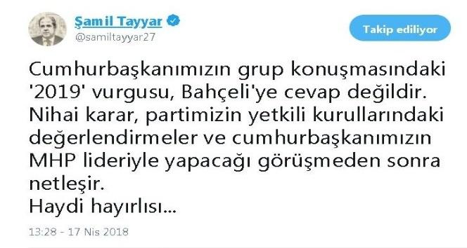 Milletvekili Şamil Tayyar'dan erken seçim değerlendirmesi