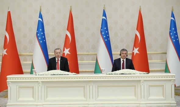 """Cumhurbaşkanı Erdoğan: """"Türkiye ve Özbekistan, bölgelerindeki istikrarsızlıktan en fazla etkilenen ülkelerin başında"""""""