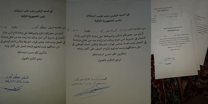Azez polis teşkilatından Cumhurbaşkanı'na mektup
