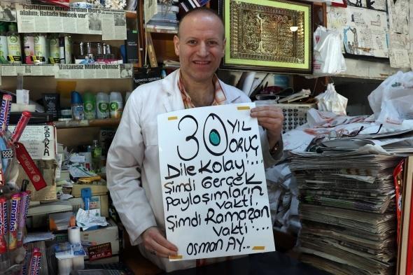 Kocaeli'de 30 yıldır oruç tutan esnaf görenleri şaşırtıyor
