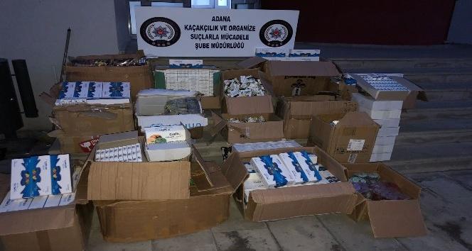 Adana'da bir depoya yapılan baskında kaçak cinsel içerikli 57 bin 433 hap, jel ve sprey ele geçirildi