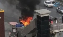 E-5te korkutan araç yangını