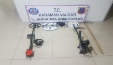 Karamanda kaçak kazı yapan 2 kişi yakalandı