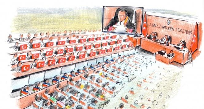 15 Temmuz Şehitler Davasında 34 şehit için 34 Türk bayrağı salona getirildi
