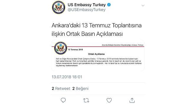 ABD Büyükelçiliği: