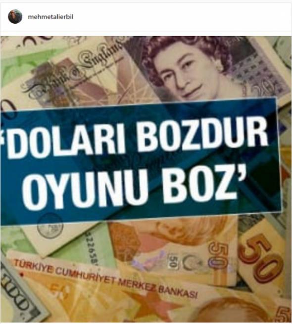 Mehmet Ali Erbil'den flaş dolar paylaşımı