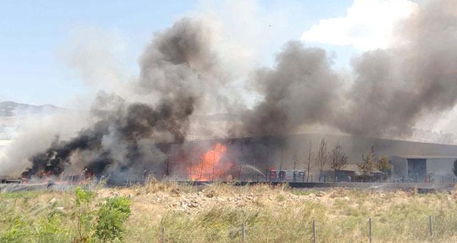 İzmirdeki fabrika alev alev yandı