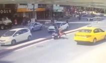 İstanbulda kadının kafatasının kırıldığı feci kaza kamerada