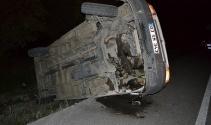 Feci kaza! Minibüs ters döndü
