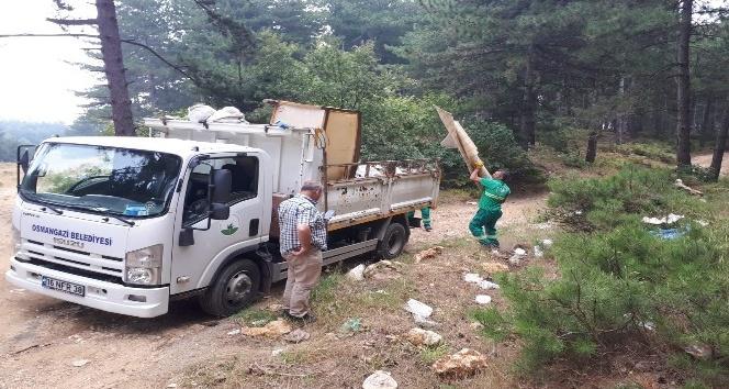 Osmangazi Belediyesinden dağ yolunda temizlik