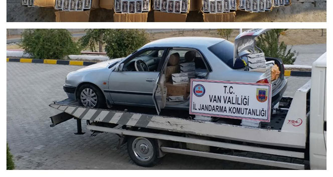 'Dur' ihtarına uymayan otomobilden 6 bin paket kaçak sigara çıktı
