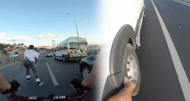 Gençlerin ölümüne yolculuğu! Araçların lastiğine tutunup köprüyü geçtiler