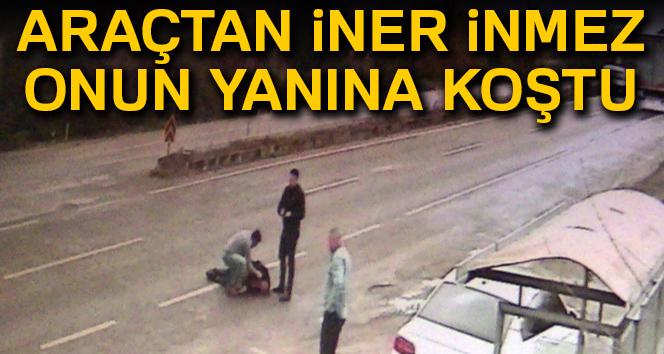 Kazada metrelerce savrulan aracından inip çarptığı adamın imdadına koştu