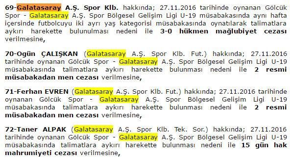 Galatasaray 39 a ok 3 0 h kmen ma lup ku adas g zc haber for Klb gala preisliste 2016