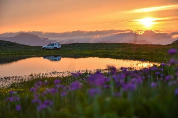 'Dipsiz Göl'den eşsiz gün batımı