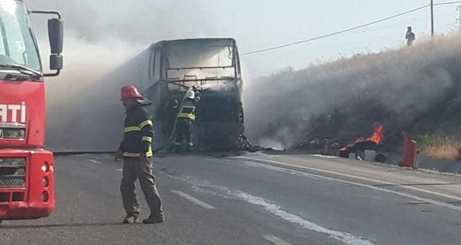 Otobüs bir anda yanmaya başladı!Bodrum,söke